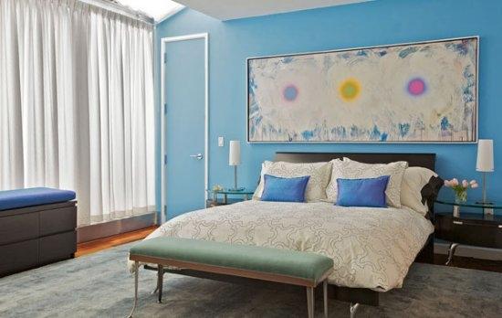 decoração em tom azul